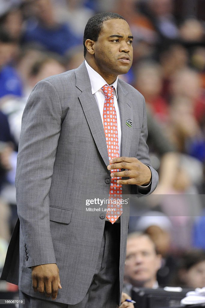 Assistant coach Othella Harrington looks on during the second round of the 2013 NCAA Men's Basketball Tournament game against the Georgetown Hoyas on March 22, 2013 at Wells Fargo Center in Philadelphia, Pennsylvania. The Eagles won 78-68.