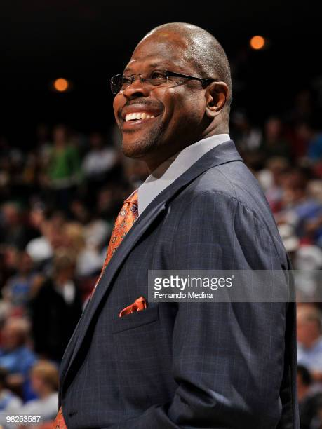 Assistant coach Patrick Ewing of the Orlando Magic reacts with a smile during the game against the Boston Celtics on January 28 2010 at Amway Arena...