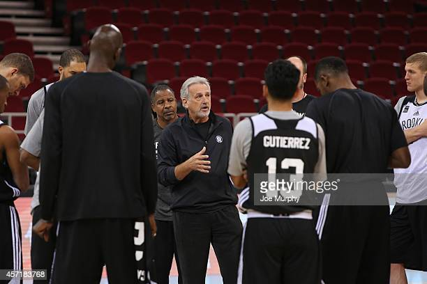 Assistant Coach Paul Westphal of the Brooklyn Nets conducts practice as part of the 2014 NBA Global Games at the Mastercard Canter on October 14 2014...
