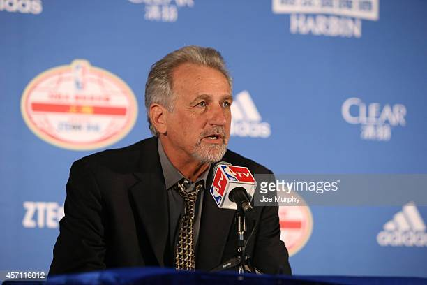 Assistant Coach Paul Westphal of the Brooklyn Nets speaks to the media after the game against the Sacramento Kings during the 2014 NBA Global Games...