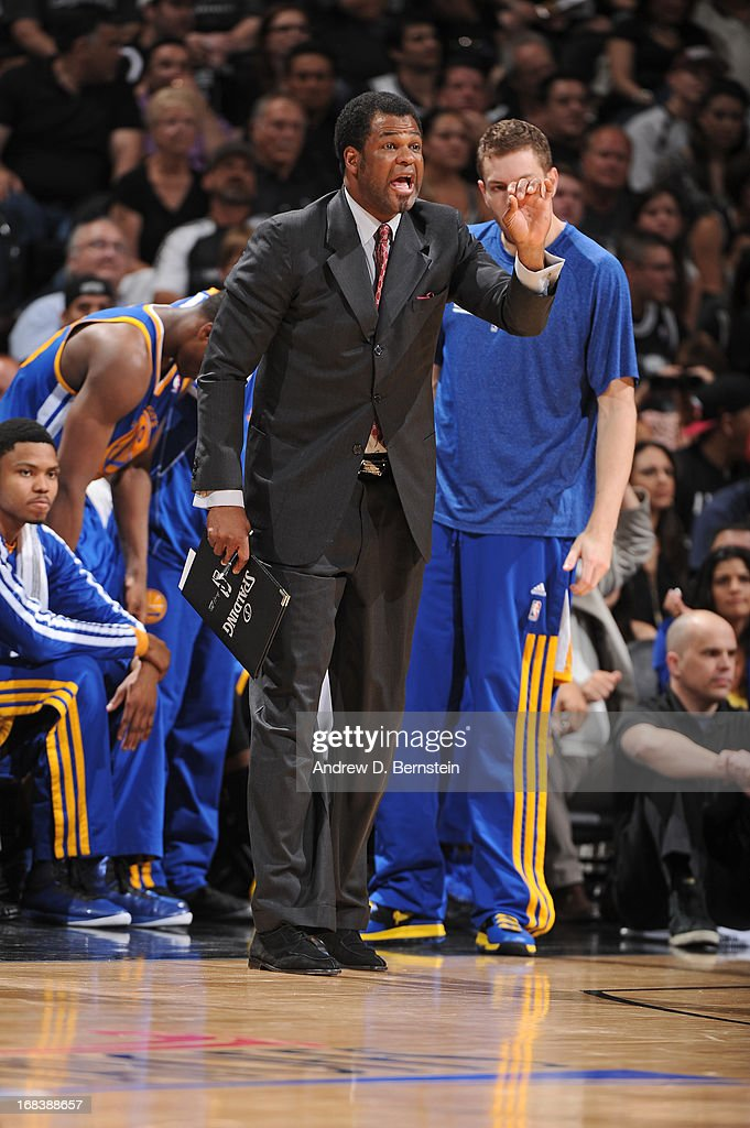 Assistant coach <a gi-track='captionPersonalityLinkClicked' href=/galleries/search?phrase=Pete+Myers&family=editorial&specificpeople=929708 ng-click='$event.stopPropagation()'>Pete Myers</a> of the Golden State Warriors calls out a play during the game against the San Antonio Spurs in Game Two of the Western Conference Semifinals during the 2013 NBA Playoffs on May 8, 2013 at the AT&T Center in San Antonio, Texas.
