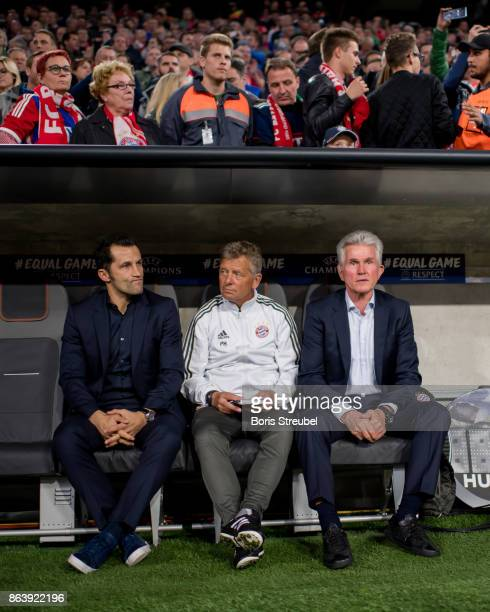 Assistant coach Peter Hermann sporting director Hasan Salihamidzic and head coach Jupp Heynckes sit on the bench prior to the UEFA Champions League...