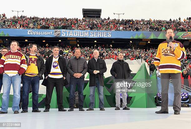 Assistant coach Phil Housley of the Nashville Predators speaks onstage during the special second intermission salute to hockey in Minnesota with...