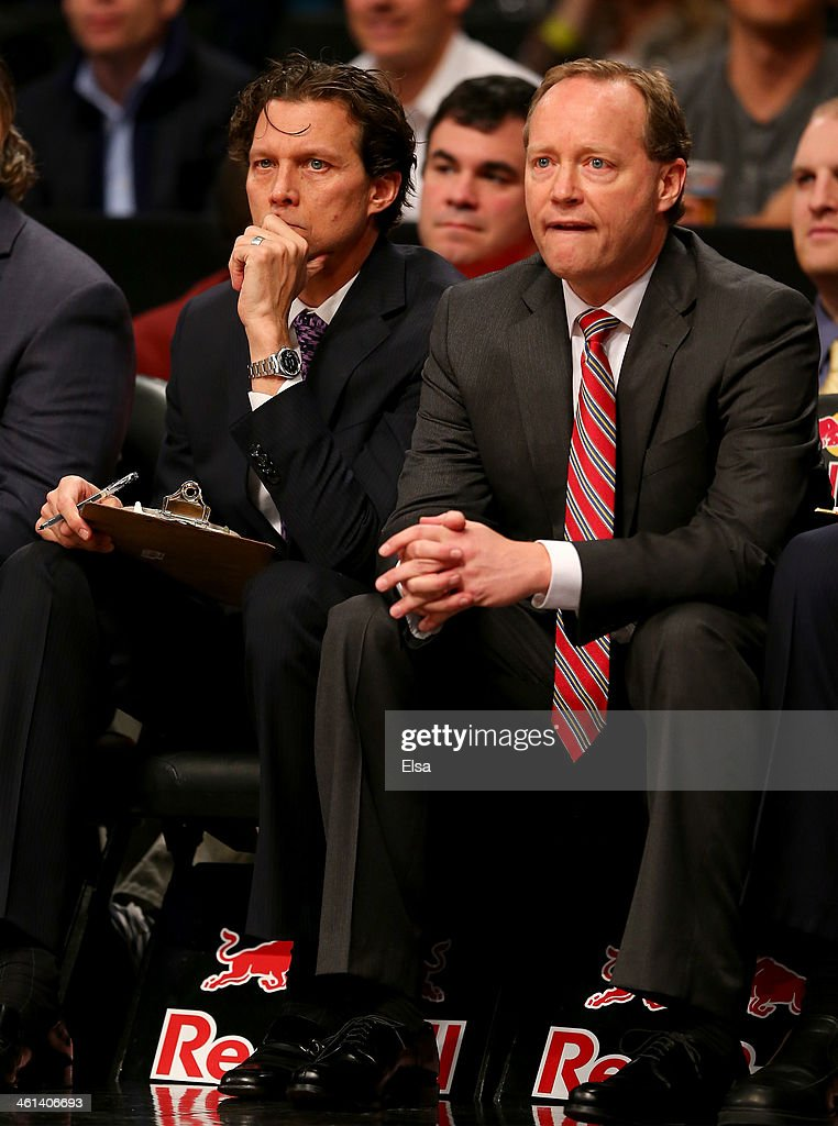 Assistant coach Quin Snyder and head coach Mike Budenholzer of the Atlanta Hawks look on in the second half against the Brooklyn Nets at the Barclays Center on January 6, 2014 in the Brooklyn borough of New York City.The Brooklyn Nets defeated the Atlanta Hawks 91-86.