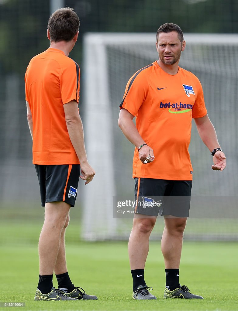assistant coach Rainer Widmayer and coach <a gi-track='captionPersonalityLinkClicked' href=/galleries/search?phrase=Pal+Dardai&family=editorial&specificpeople=604310 ng-click='$event.stopPropagation()'>Pal Dardai</a> of Hertha BSC during the training on june 29, 2016 in Berlin, Germany.