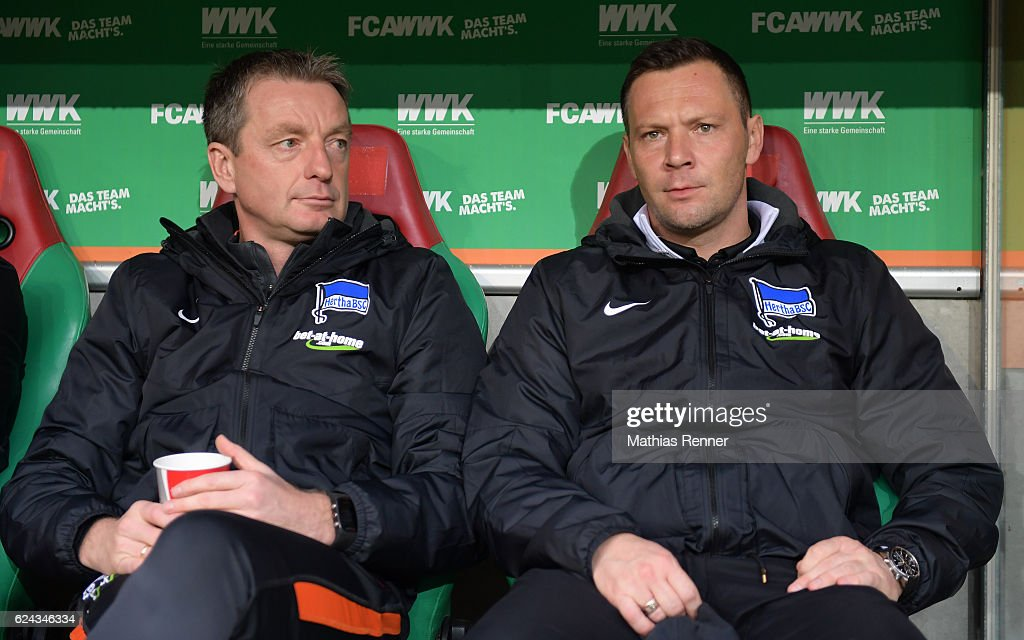 assistant coach Rainer Widmayer and coach Pal Dardai of Hertha BSC before the game between FC Augsburg and Hertha BSC on november 19, 2016 in Augsburg, Germany.