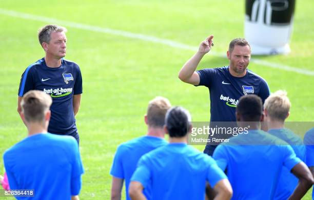 assistant coach Rainer Widmayer and coach Pal Dardai of Hertha BSC during the training camp on August 4 2017 in Schladming Austria