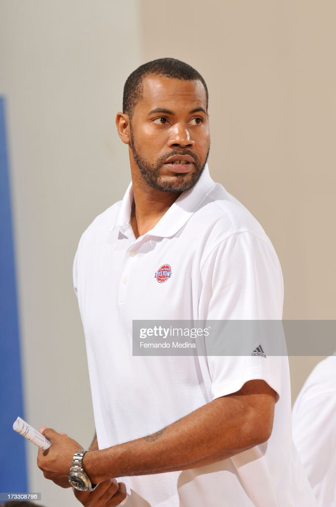 Assistant Coach Rasheed Wallace of the Detroit Pistons looks on against the Miami Heat during the 2013 Southwest Airlines Orlando Pro Summer League on July 11, 2013 at Amway Center in Orlando, Florida.