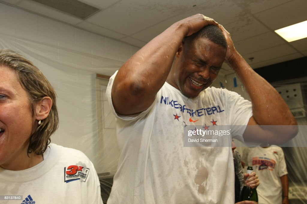 Assistant Coach Rick Mahorn of the Detroit Shock celebrates in the lockerroom after winning Game Three of the WNBA Finals against the San Antonio...