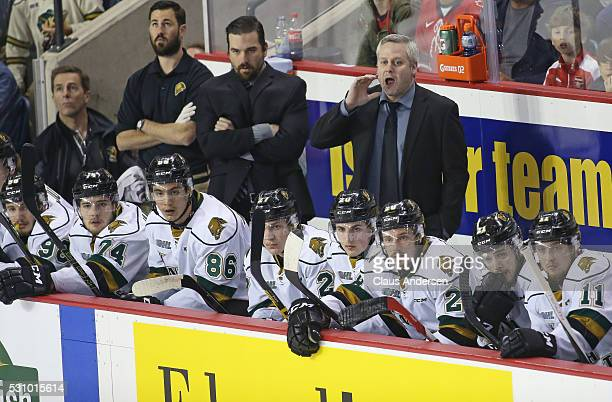 Assistant coach Rick Steadman of the London Knights shouts instructions during action against the Niagara IceDogs in Game Four of the OHL...