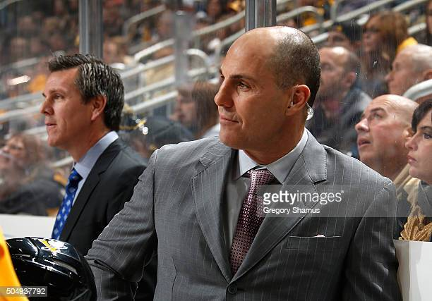 Assistant coach Rick Tocchet of the Pittsburgh Penguins looks on against the New York Islanders at Consol Energy Center on January 2 2016 in...