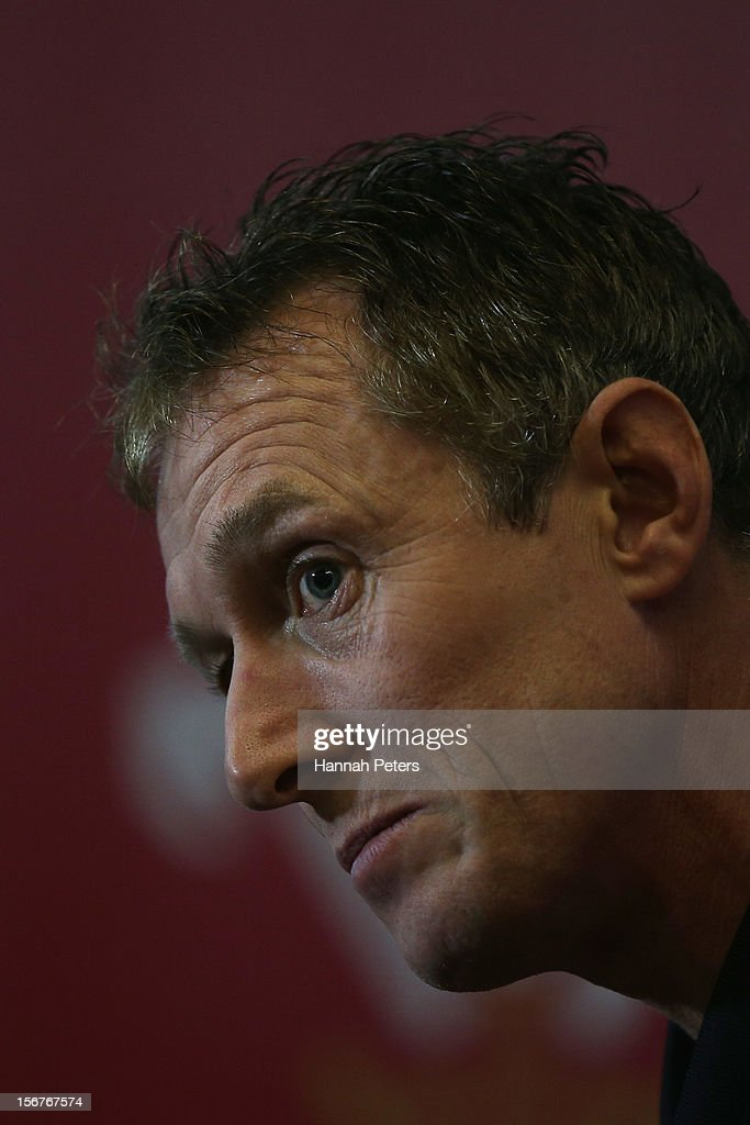 Assistant coach Rob Howley of Wales talks to media during a press conference at the Vale resort on November 20, 2012 in Cardiff, Wales.