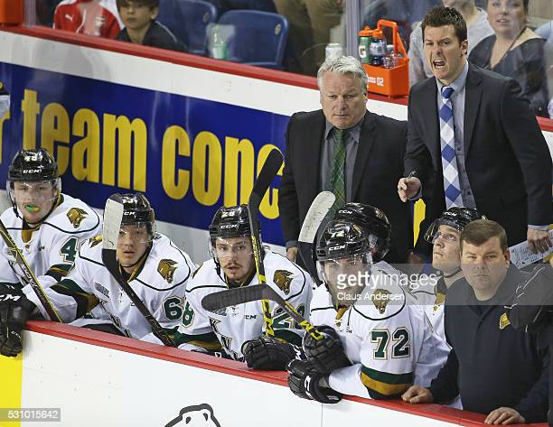 Assistant coach Rob Simpson of the London Knights shouts his displeasure at a call during action against the Niagara IceDogs in Game Four of the OHL...