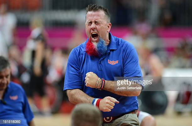 Assistant Coach Robert Murray of the United States reacts after losing the Mixed Wheelchair Rugby Open semifinal match between the United States and...