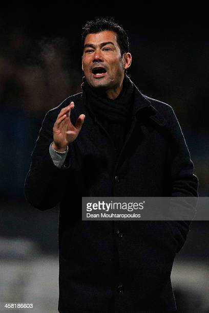 Assistant Coach Roy Hendriksen gives his team instructions during the Eredivisie match between RKC Waalwijk and FC Twente at the Mandemakers Stadion...