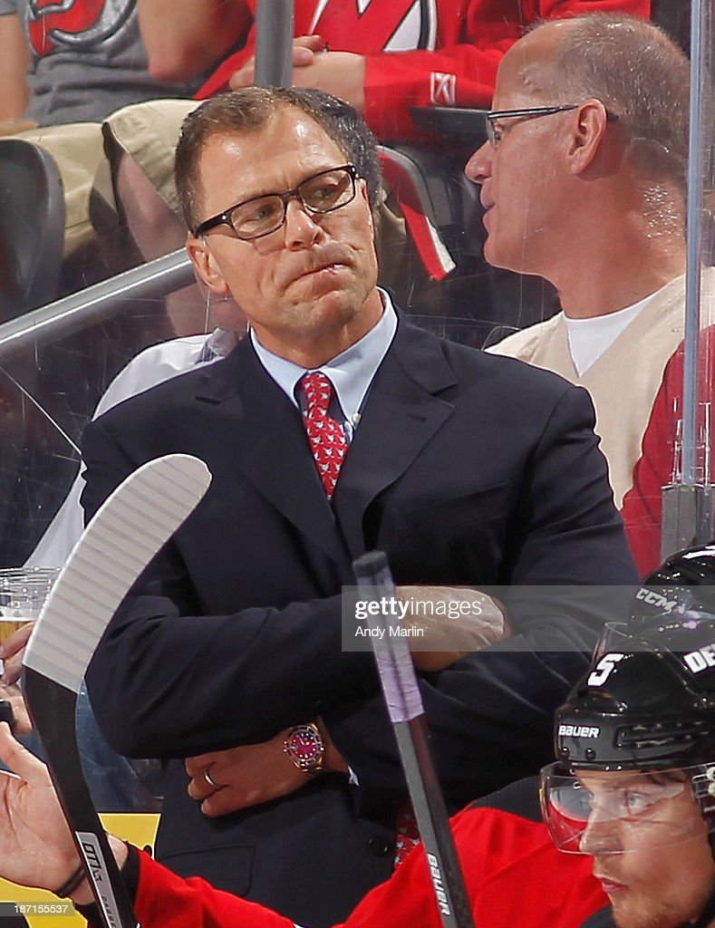 Assistant coach Scott Stevens of the New Jersey Devils looks on against the Philadelphia Flyers during the game at the Prudential Center on November 2, 2013 in Newark, New Jersey.