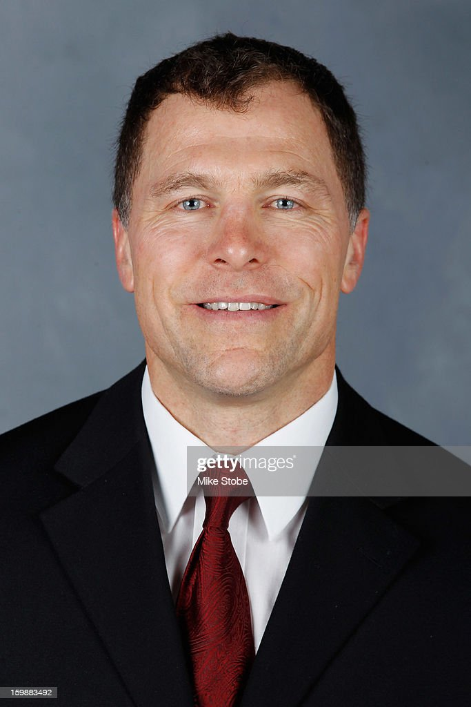 Assistant Coach Scott Stevens of the New Jersey Devils poses for his official headshot for the 2012-2013 season on January 16, 2013 in Newark, New Jersey.