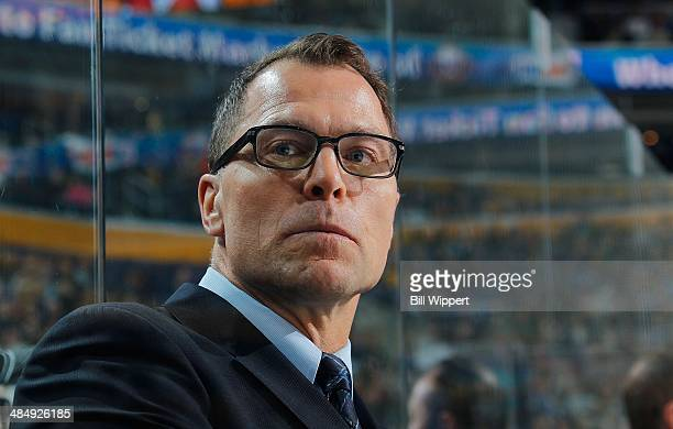 Assistant coach Scott Stevens of the New Jersey Devils watches their game against the Buffalo Sabreson April 1 2014 at the First Niagara Center in...