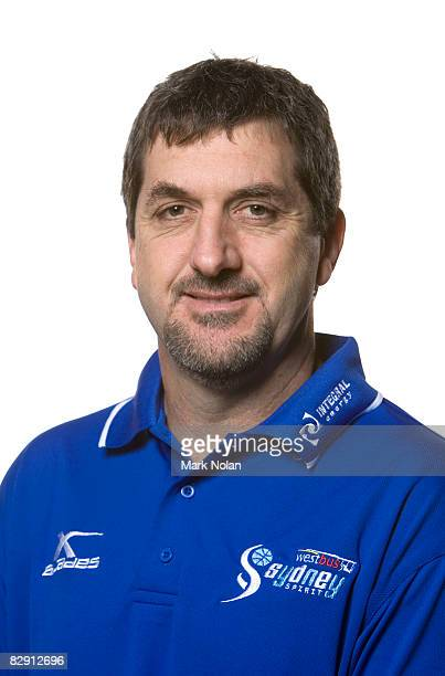 Assistant coach Shawn Dennis of the Spirit poses during the official Sydney Spirit 2008/2009 NBL portrait session at the Auburn Basketball Centre on...