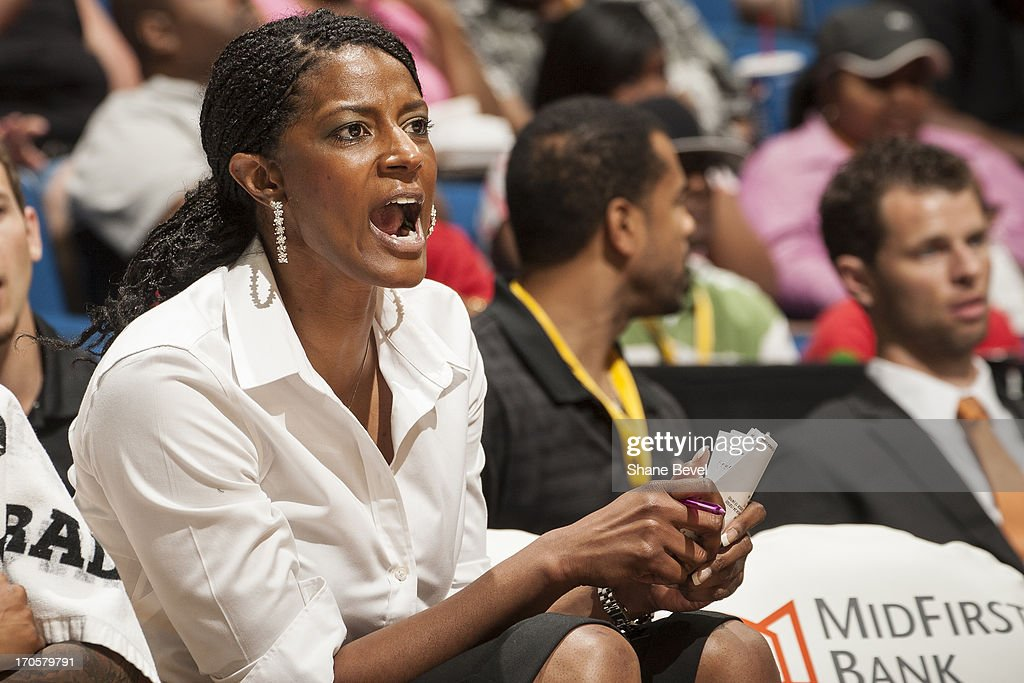 Assistant coach Stacey Lovelace of the Tulsa Shock calls to the team during the WNBA game against the Minnesota Lynx on June 14, 2013 at the BOK Center in Tulsa, Oklahoma.
