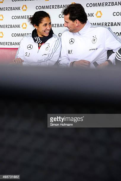 Assistant coach Steffi Jones of Germany smiles prior to the UEFA Women's Euro 2017 Qualifier match between Germany and Russia at BRITAArena on...