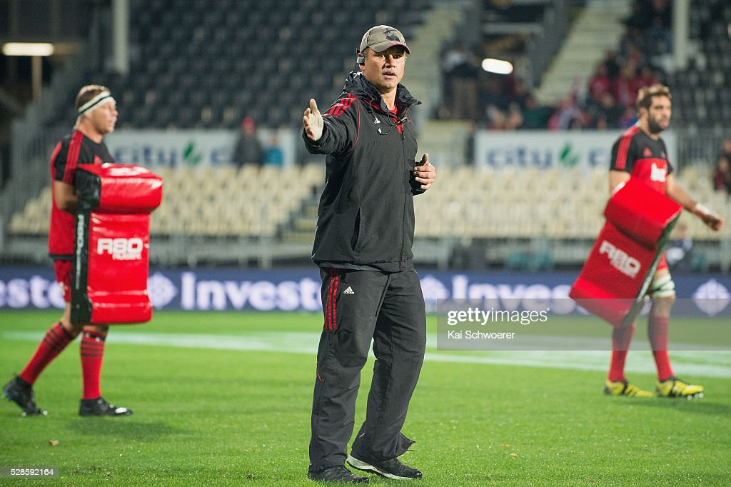 Assistant Coach Tabai Matson of the Crusaders reacting prior to the round 11 Super Rugby match between the Crusaders and the Reds at AMI Stadium on May 6, 2016 in Christchurch, New Zealand.