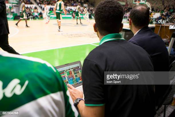 Assistant coach take statistic during the Pro A match between Nanterre and Limoges on May 6 2017 in Nanterre France