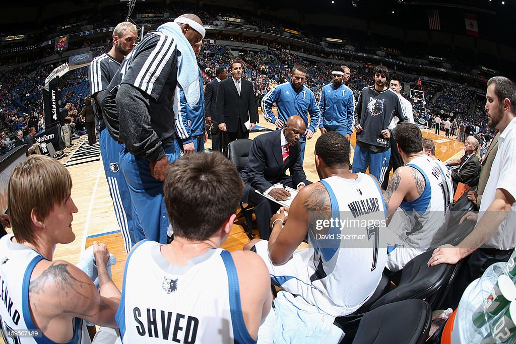Assistant Coach Terry Porter of the Minnesota Timberwolves, fills in as acting head coach of the night and intructs his team against the Atlanta Hawks on January 8, 2013 at Target Center in Minneapolis, Minnesota.