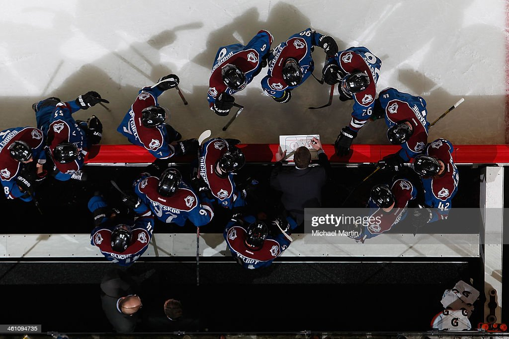 Assistant coach Tim Army of the Colorado Avalanche draws up a play against the Calgary Flames during a time out at the Pepsi Center on January 06, 2014 in Denver, Colorado. ÊThe Flames defeated the Avalanche 4-3. Ê