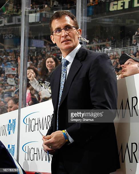 Assistant coach Tony Granato of the Pittsburgh Penguins looks on against the Florida Panthers on February 22 2013 at Consol Energy Center in...