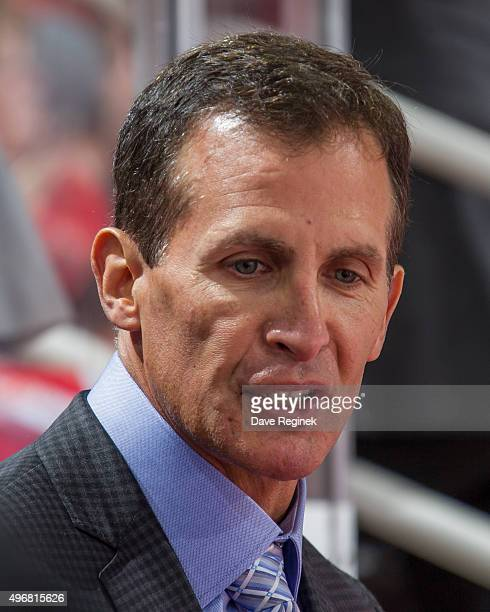 Assistant coach Tony Granato talks to the players on the bench during an NHL game against the Dallas Stars at Joe Louis Arena on November 8 2015 in...