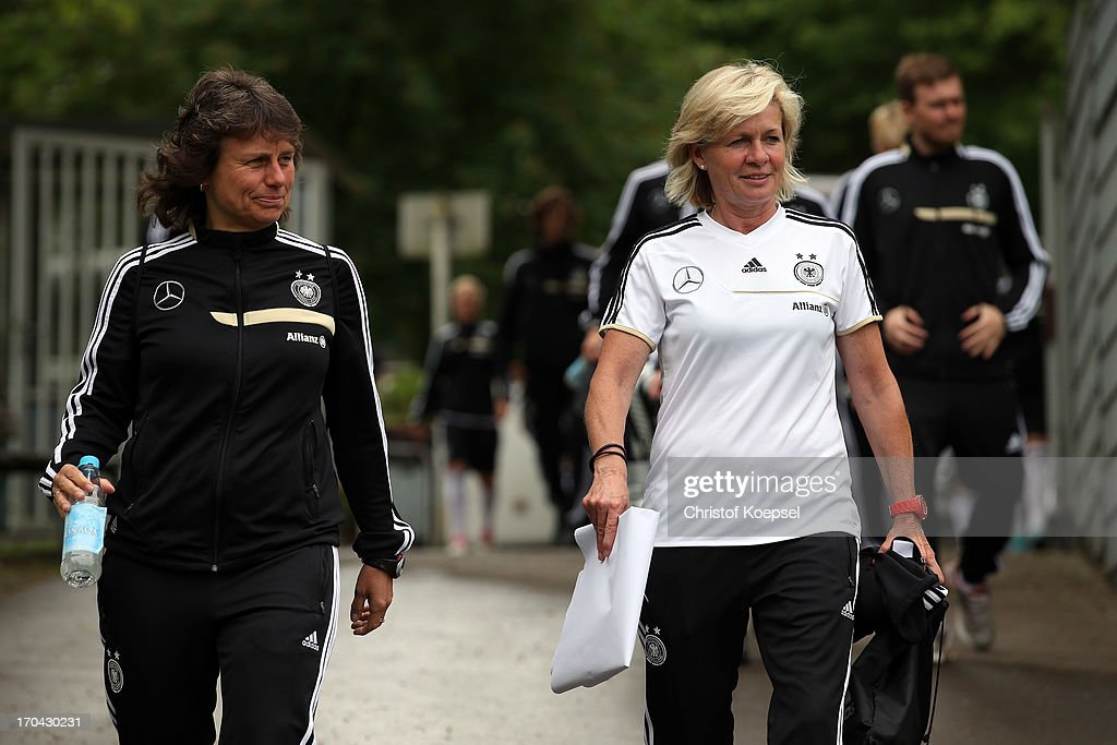 Assistant coach Ulrike Ballweg and head coach Silvia Neid attend the training session of Women's Team Germany at training ground Ueberruhr on June 13, 2013 in Essen, Germany.