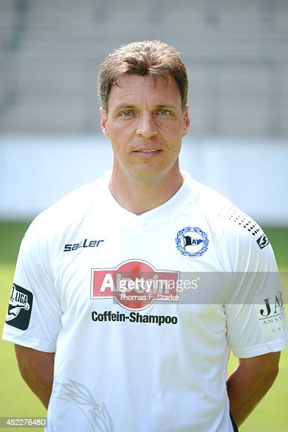 Assistant coach Uwe Speidel poses during the Third League team presentation of Arminia Bielefeld at Schueco Arena on July 17 2014 in Bielefeld Germany
