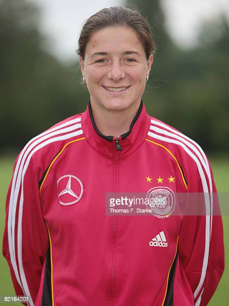 Assistant coach Verena Hagedorn poses during the photo call of the U17 women German national soccer team at the Sportschule Wedau on August 3 2008 in...