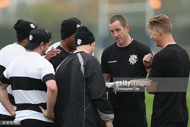 Assistant Coach Will Greenwood talks to the players during the Barbarians Training Session at Latymer Upper Sports Ground on November 1 2016 in...