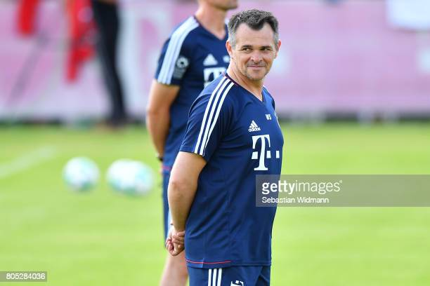 Assistant coach Willy Sagnol of FC Bayern Muenchen smiles during a training session at Saebener Strasse training ground on July 1 2017 in Munich...