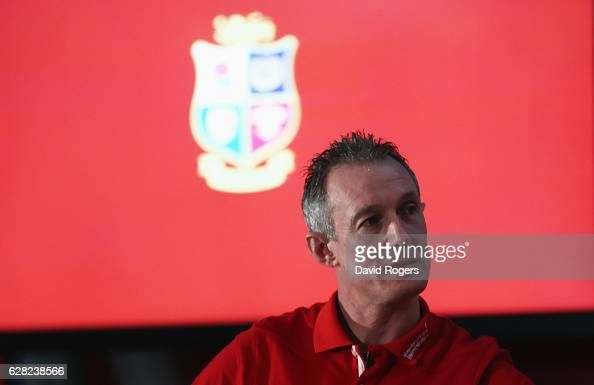 Assistant coache Rob Howley looks on during the 2017 British Irish Lions Coaching Team Announcement at Carton House Hotel on December 7 2016 in...