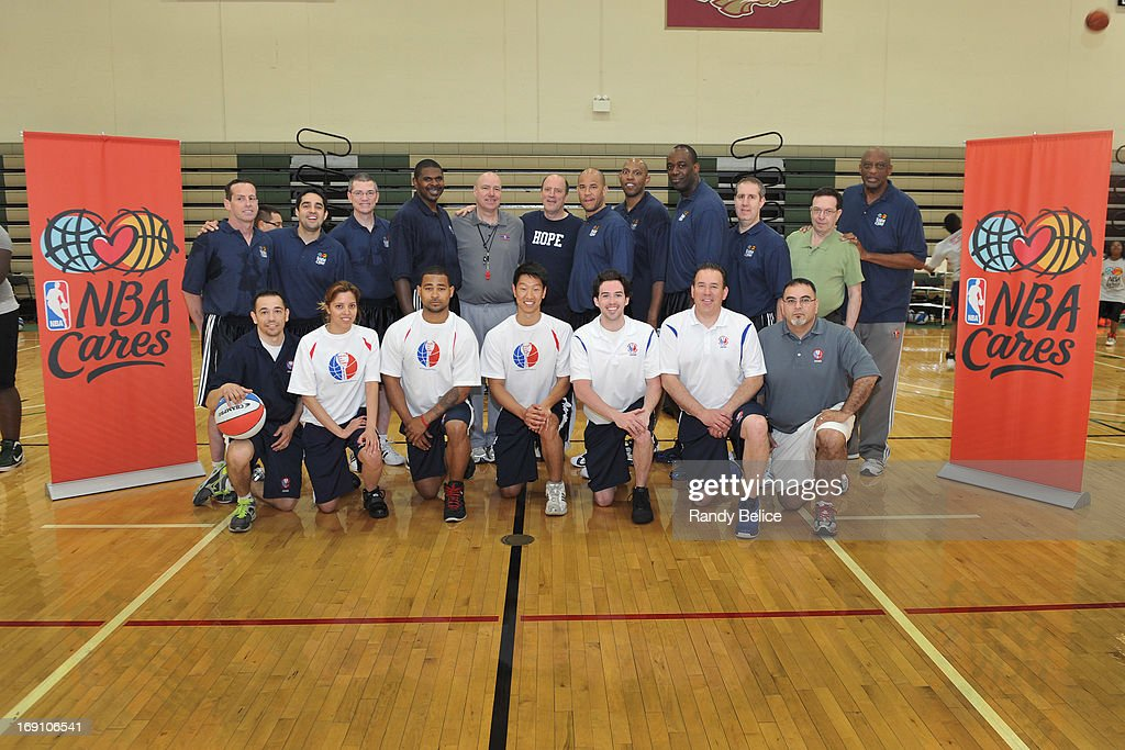 Assistant Coaches and other staff pose for a group following the conclusion of a NBA Cares Basketball Clinic as part of the 2013 NBA Draft Combine on May 18, 2013 at Quest Multiplex in Chicago, Illinois.