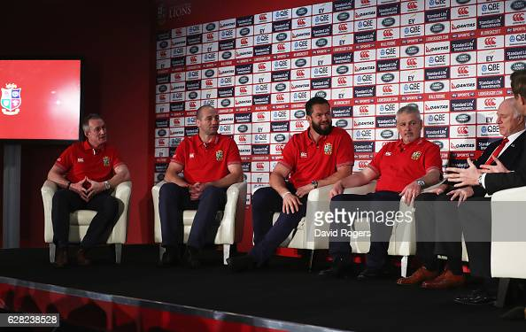 Assistant coaches Rob Howley Steve Borthwick and Andy Farrell sit alongside head coach Warren Gatland during the 2017 British Irish Lions Coaching...