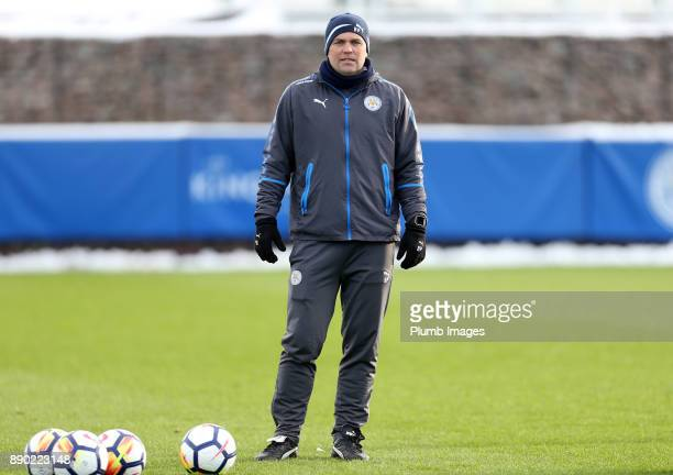 Assistant development squad coach Ben Petty of Leicester City looks on as players warmup ahead of the Premier League 2 match between Leicester City...