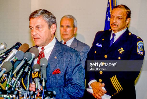 FBI Assistant Director Anthony Daniels speaks during a press conference at the Bureau's DC Field Office Washington DC November 22 1994 He was...