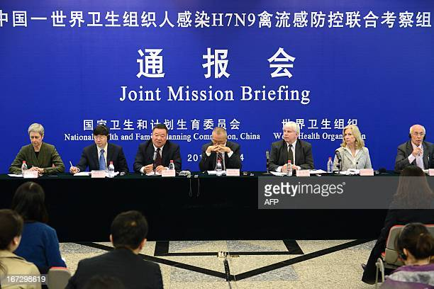 Assistant DirectorGeneral for Health Security and Environment Keiji Fukuda reacts during a press conference on the H7N9 avian influenza virus in...