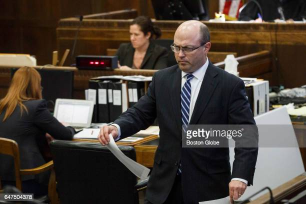 Assistant district attorney Patrick Haggan introduces evidence during the double murder trial of former New England Patriots tight end Aaron...