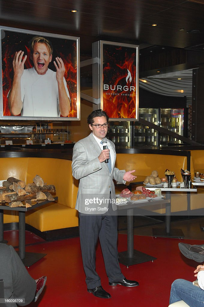 Assistant general manager of Planet Hollywood Resort & Casino Sean McBurney speaks during a traditional Sunday Roast at Gordon Ramsay BurGR at Planet Hollywood in celebration of the opening of the restaurant as well as Gordon Ramsay Pub & Grill at Caesars Palace on January 27, 2013 in Las Vegas, Nevada.