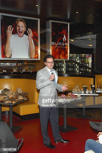 Assistant general manager of Planet Hollywood Resort Casino Sean McBurney speaks during a traditional Sunday Roast at Gordon Ramsay BurGR at Planet...