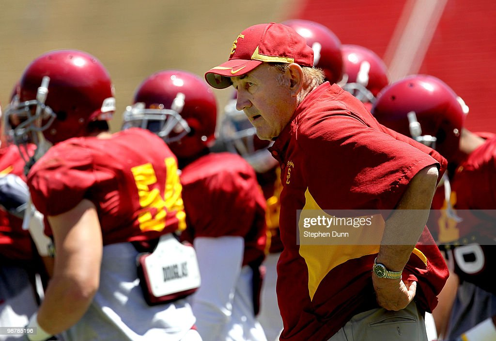 Assistant head coach Monte Kiffin on the sidelines during the USC Trojans spring game on May 1 2010 at the Los Angeles Memorial Coliseum in Los...