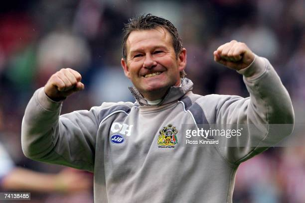 Assistant Manager Chris Hutchings of Wigan celebrates after the Barclays Premiership match between Sheffield United and Wigan Athletic at Bramall...