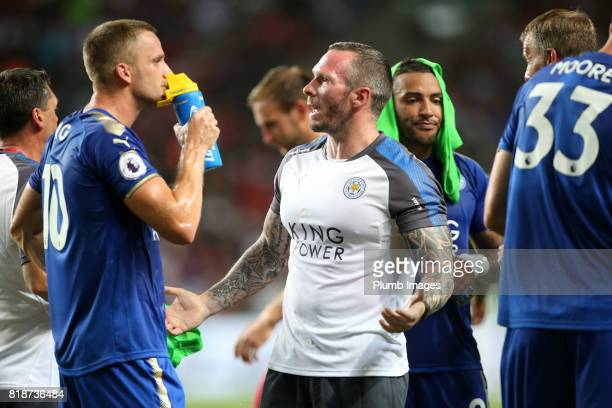 Assistant Manager Michael Appleton and Andy King of Leicester City during the Premier League Asia Trophy match between Leicester City and West...