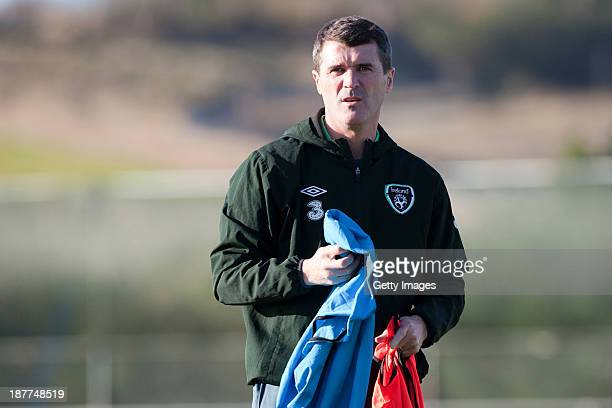 Assistant manager Roy Keane of Republic of Ireland looks on during a training session at Gannon Park on November 12 2013 in Dublin Ireland