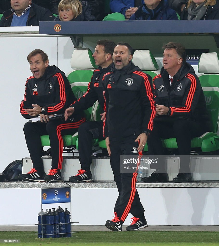 Assistant Manager Ryan Giggs of Manchester United appeals a decision during the UEFA Champions League match between VfL Wolfsburg and Manchester United at Volkswagen Arena on December 8, 2015 in Wolfsburg, Germany.